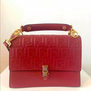 Fendi Kan I Red Logo FF Leather Satchel Bag (NEW)